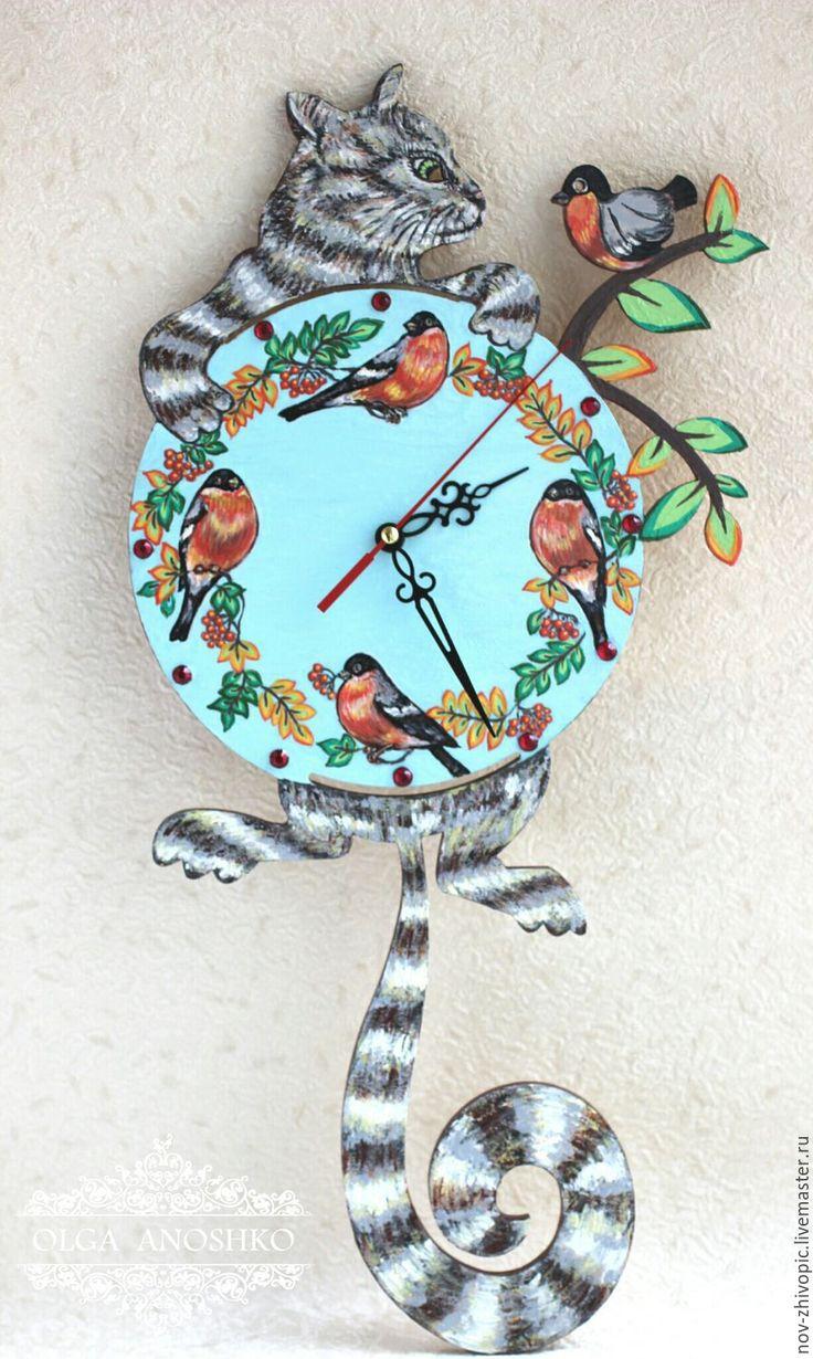 """Купить Часы настенные """"Кот и птички"""". Роспись. - часы настенные, часы, часы интерьерные"""