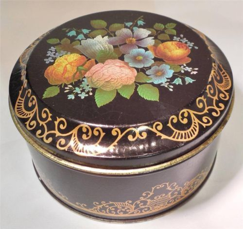 "English Toffee Tin Candy Round Floral CASE 5"" England Vintage Collectible"