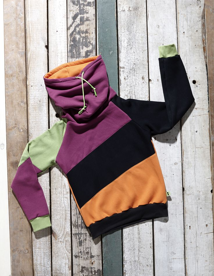 Orange, black, green and magenta high neck pullover Favira by Bosis