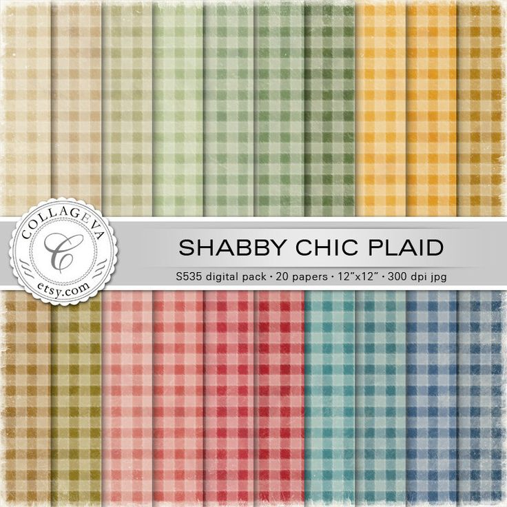 """Shabby Chic Plaid Digital Scrapbook Paper Pack, 20 printable sheets 12x12"""" Distressed Vintage Checked Flannel Grunge Textured Gingham (S535) by collageva on Etsy"""