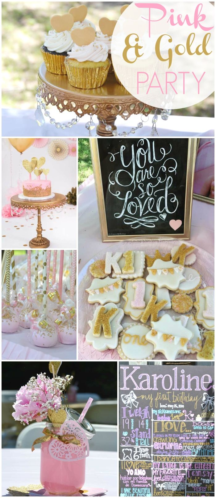 Here's a lovely pink and gold first birthday party! See more party ideas at CatchMyParty.com!
