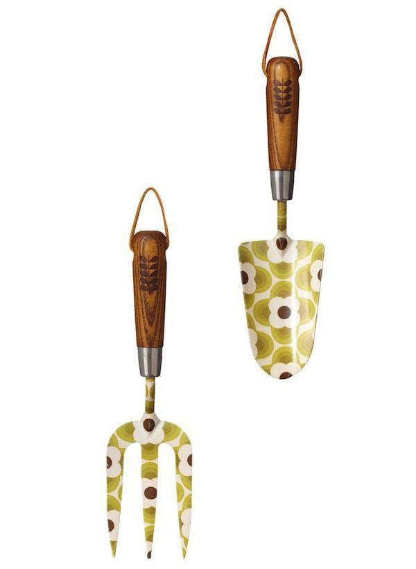 Orla Kiely garden tools.