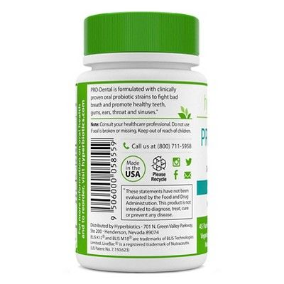 Hyperbiotics 45ct Pro-Dental Chewable Probiotic Tablets