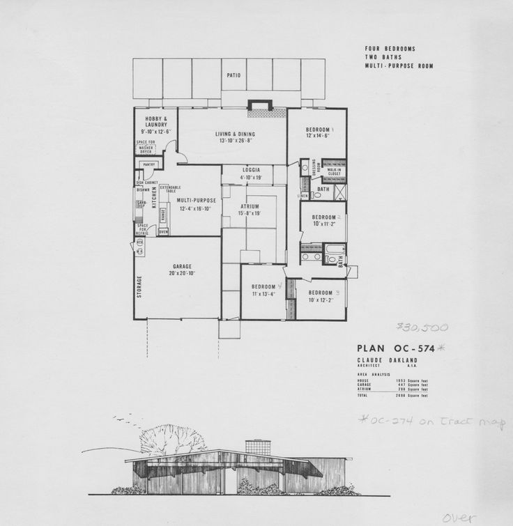 Eichler plan oc 574 design floor plans pinterest Eichler atrium floor plan