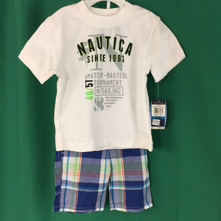 Boys Size 24 Months Outfit Shirt and Shorts Nautica New Blue White Plaid 2 Pc #Nautica