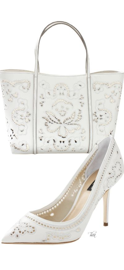 Dolce and Gabbana ~ White Leather Cutout Pump & Tote 2015 #accessories #shoes #bags