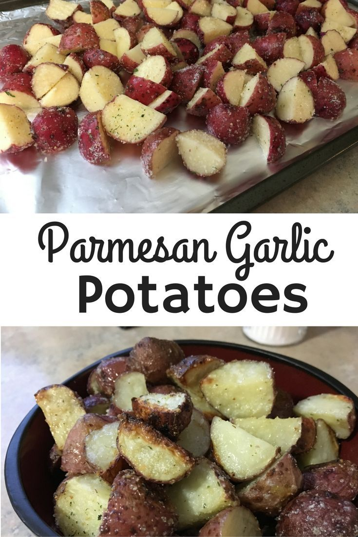 Quick and easy dinner side! Parmesan Garlic red potatoes! Just 30 minutes in the oven!