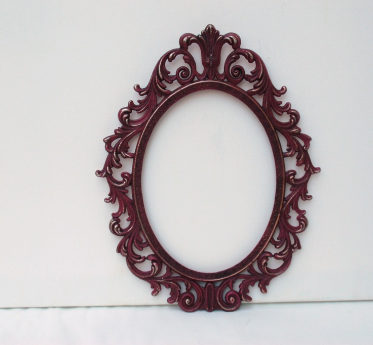 ornate vintage oval frame deep plum french country shabby chic regency home decor