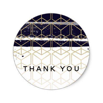 Hexagon Modern Navy Blue Gold Geometric Wedding Classic Round Sticker - birthday diy gift present custom ideas