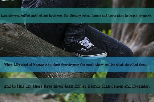 Lysander was bullied and left out by James, the Weasley twins, Lorcan and Louis when he began Hogwarts. When Lily started Hogwarts in their fourth-year she made them realise what they had done, and to this day there have never been firmer friends...