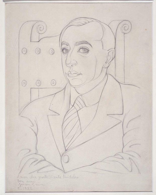 Retrato de Vicente Huidobro. 1922. Dibujo. Lápiz sobre papel, 46,5 x 37 cm. Museo Reina Sofía. Obra de Juan Gris