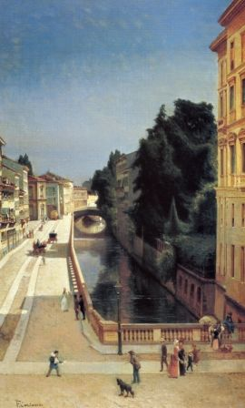 Filippo Carcano, Il Naviglio di Via Senato, 1870-75, Milano Museo Civico
