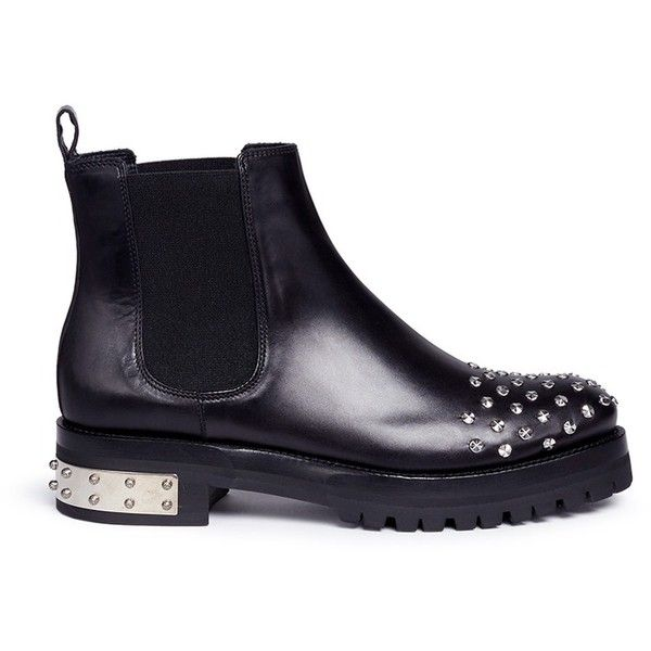 Alexander McQueen 'Mod' stud leather Chelsea boots (£1,145) ❤ liked on Polyvore featuring shoes, boots, ankle booties, black, black slip on boots, black pull on boots, black studded boots, studded boots and black boots