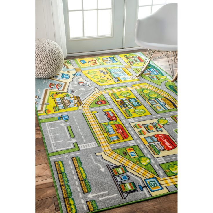 Nuloom Contemporary Kids Fairytale Town Green Rug 5 X 7