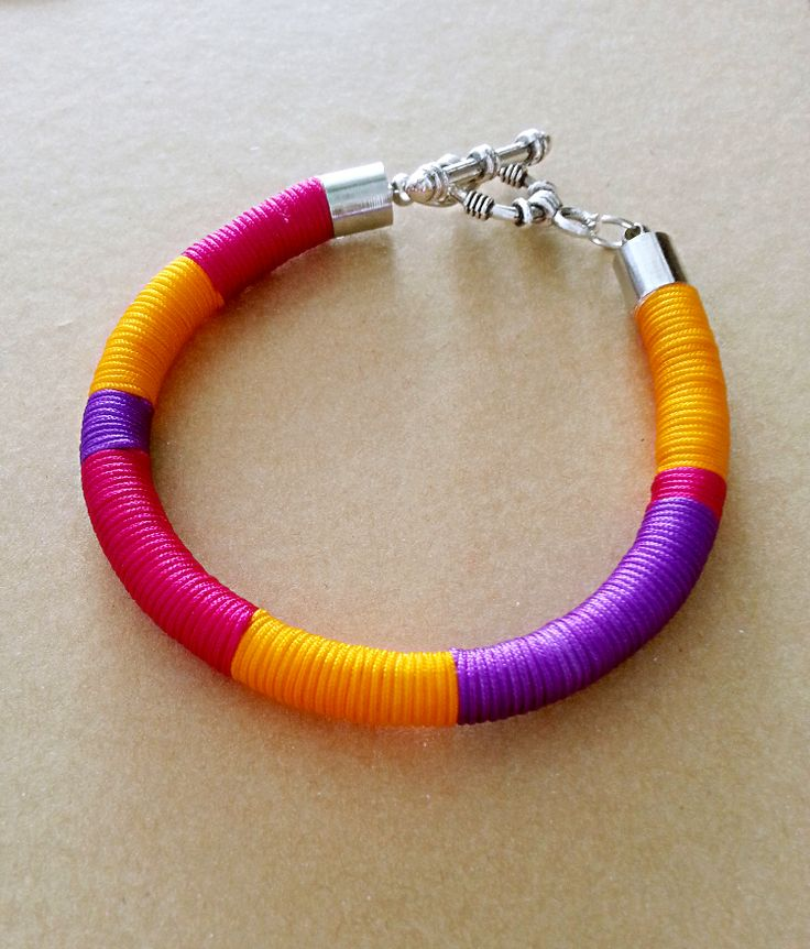 Bright Bold Block Colored Thread Wrap Bracelet