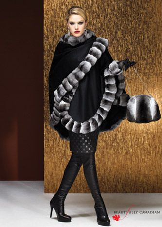 Beautifully Canadian 2012-13 by Luna Furs. A cape and purse-muff, in a refined combination of cashmere and chinchilla, is a stylish way to wrap oneself in luxury.