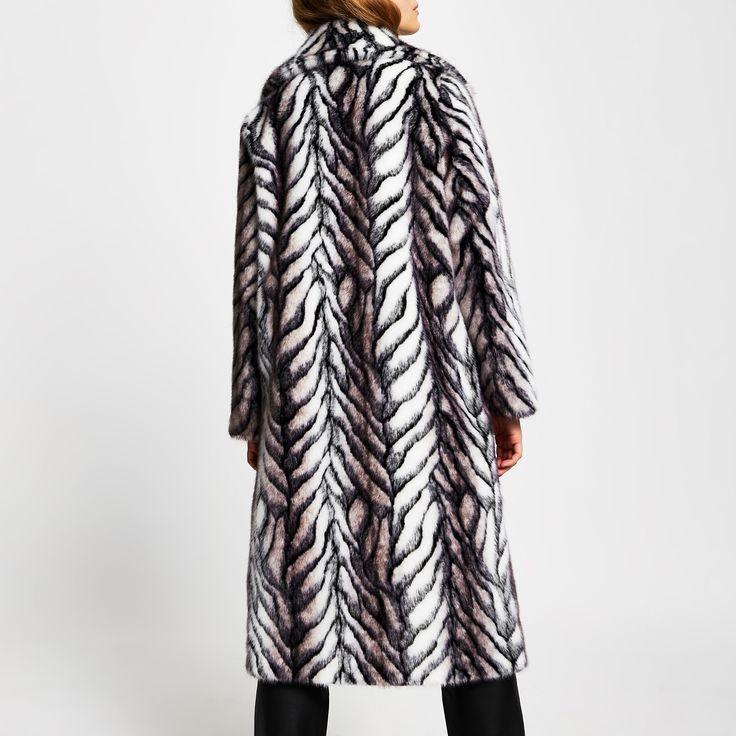 White Long Line Faux Fur Zebra Print, White Long Line Faux Fur Zebra Print Coat
