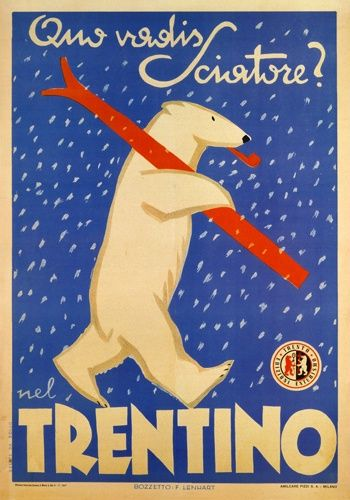 vintage ski poster - trentino Italy Italia