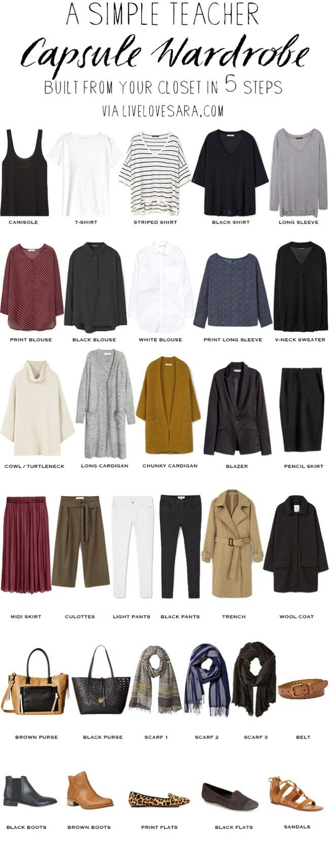 A simple Teacher capsule wardrobe in 5 steps Built from your closet #capsule #capsulewardrobe #teacherwardrobe