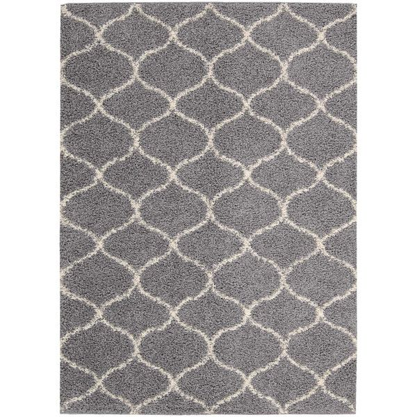Nourison Silver Windsor Shag Rug (1.440 RUB) ❤ liked on Polyvore featuring home, rugs, nourison rugs, textured rugs, olefin rug, textured area rugs and shag area rugs