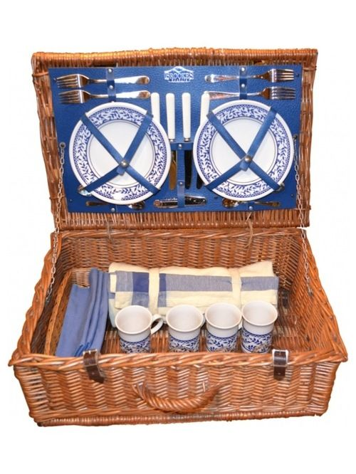 Picnic Basket - Picnic basket from Brooke's Baskets in England. Stocked with service for 4, it includes: forks, knives, spoons, plates, beverage glasses, mugs, bottle opener, corkscrew, bread basket, cotton napkins and tablecloth/blanket.