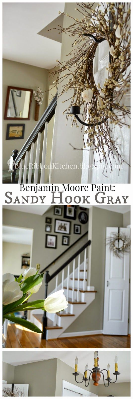 Blue Ribbon Kitchen: 50 Shades of Gray Paint: Benjamin Moore in Sandy Hook Gray.  Updated entryway/foyer.  Easy DIY painting tips.