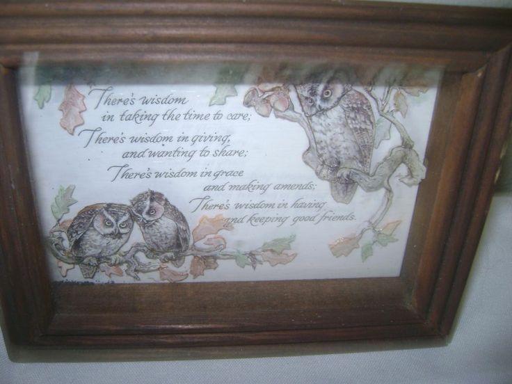 "Wood framed Shadow Box Inset  Owl Motto ""There's Wisdom"" Screech Owls 5 x 7"" #Shadowbox"