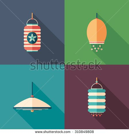 Modern lamps flat square icons with long shadows. #homeinterior #homefurniture #flaticons #vectoricons #flatdesign