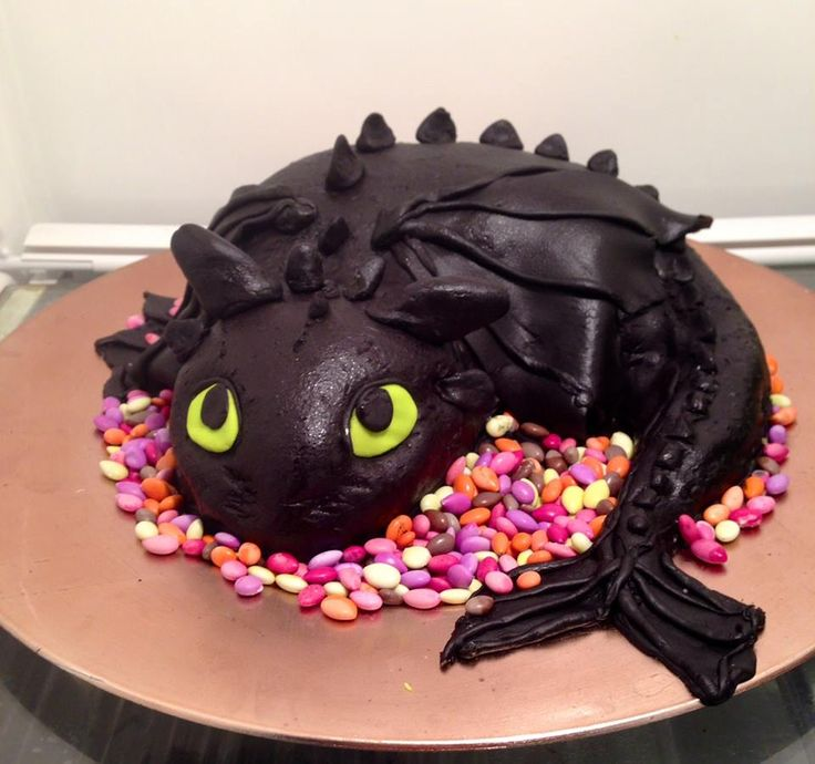 How to Train Your Dragon Cake. Toothless Cake for my son's How to Train Your Dragon Party!