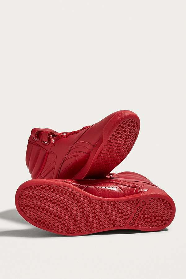 Slide View: 5: Reebok Freestyle Red High Top Trainers