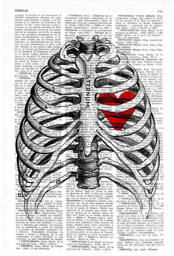 Upcycled Dictionary Page Print Heart trapped in a Rib by PRRINT