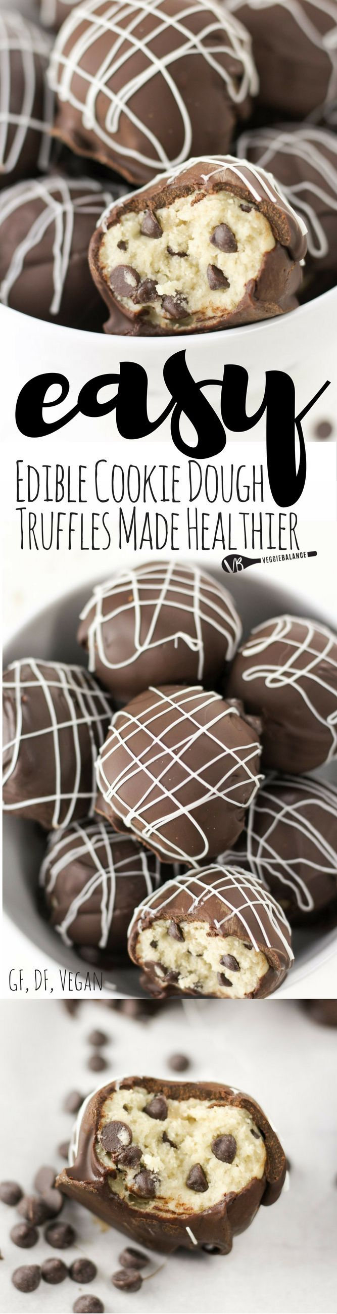Edible Cookie Dough Truffles recipe and How To Make them Healthy, Gluten-Free, Dairy-Free and Lower-sugar! Made edible and egg-less with only 7 simple ingredients!