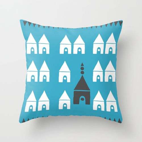 Simple Town Throw Pillow by Agata Winer | Society6