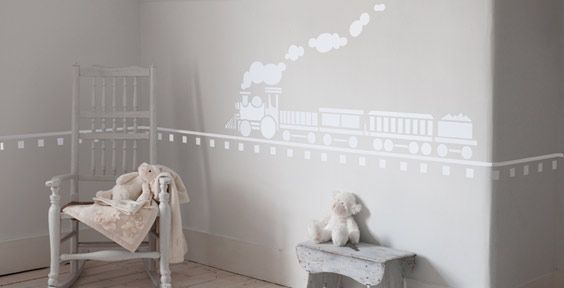 If we have another boy and can't get an actual train track to go around the entire room, we can do this. :)