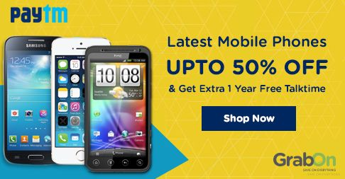 Paytm Deal of the Day: Upto 50% OFF on Mobile Phones + Get 1 Year Talktime for Free. Get this Now. Hurry!  ‪#‎PaytmKaro‬ ‪#‎SmartphoneOffers‬ ‪#‎FreeTalktime‬ ‪#‎GrabOn‬