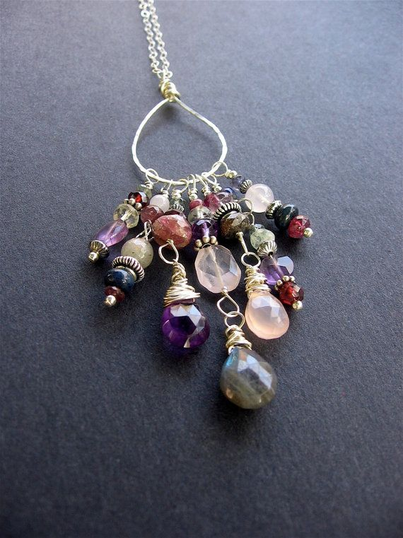 Long Boho Charm Necklace Long Gemstone by SimpleElementsDesign