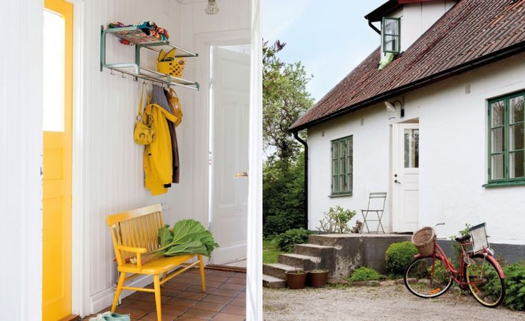 hall med gula detaljer samt bild på en vit husfasad