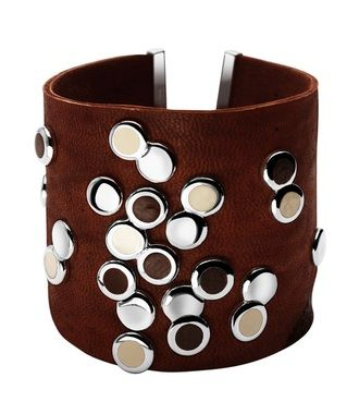 Thick Leather Bracelet Circles in Silver Base