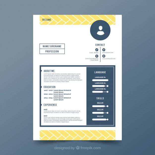 Free vector Cv template with yellow shapes #24008
