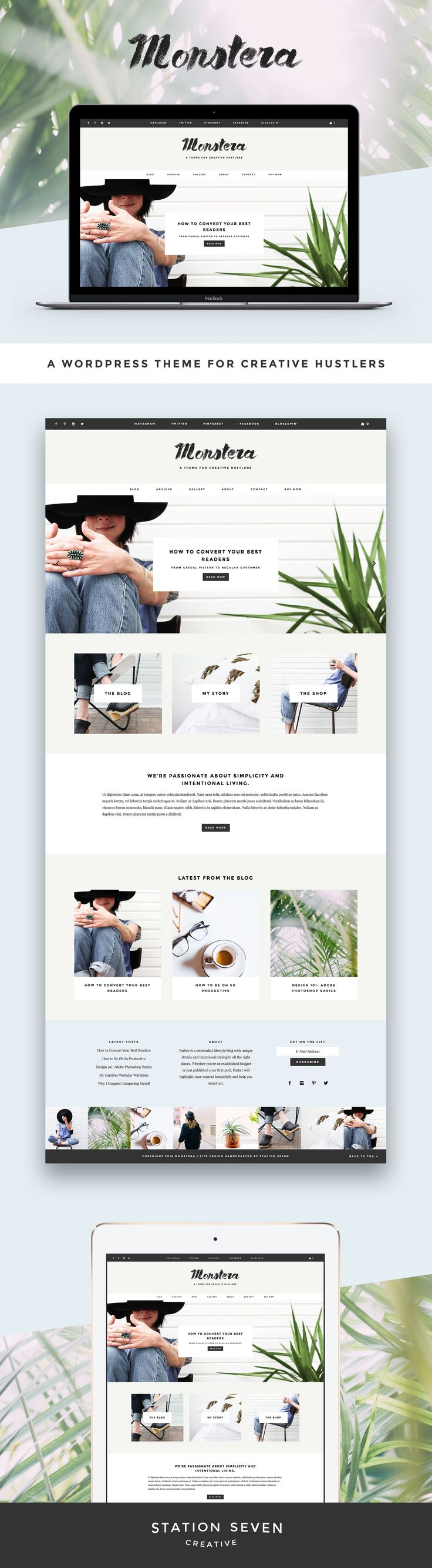 A minimalist theme with bold details and unique styling in all the right places. Station Seven's WordPress Monstera theme.