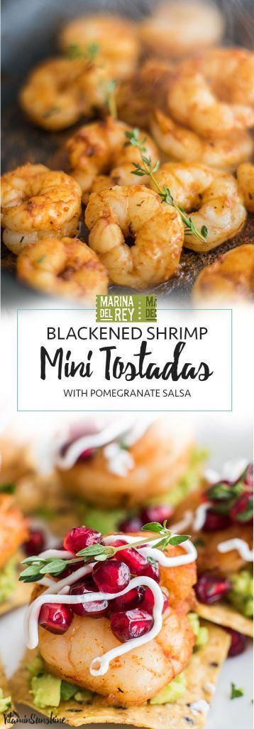 Mini Shrimp Tostadas with Pomegranate Salsa / #ad The perfect healthy party appetizer! Blackened shrimp, guacamole, and a tangy pomegranate salsa.