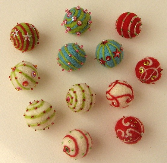 felted wool balls with beads and other embellishments