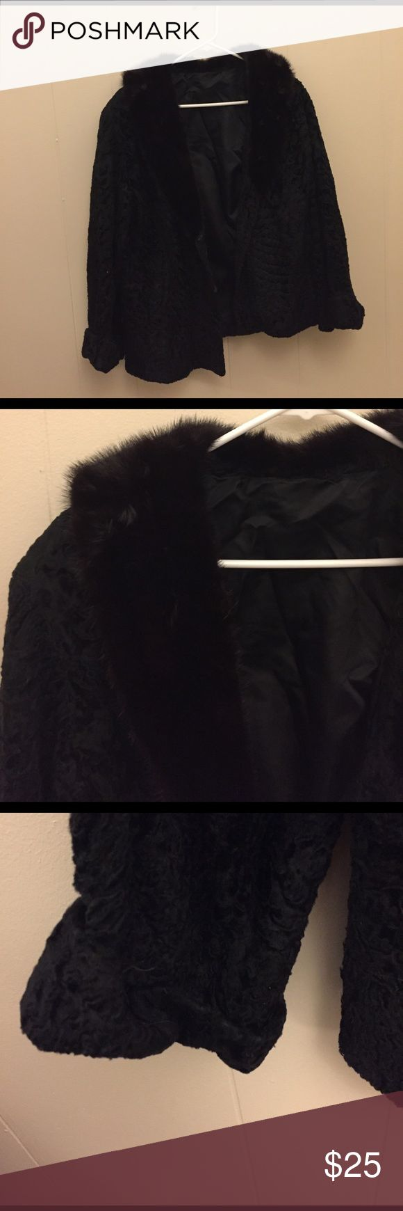 Real fur jacket with velvet base Super warm and fuzzy fur coat with velvet base , folded sleeves and fur collar, hooked buttons attached Jackets & Coats