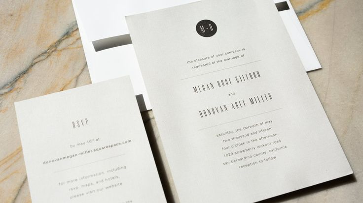 Minimal wedding invitation by Eclaire Paperie