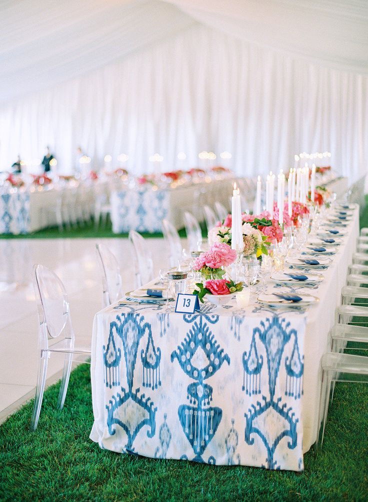 This gorgeous blue IKAT PATTERN made Abby's 2013 Favorite List on Style Me Pretty! See the wedding from Jose Villa Photography, Laurie Arons Special Events and Kathleen Deery Design for more: http://www.StyleMePretty.com/2013/02/07/modern-napa-wedding-from-jose-villa-laurie-arons/