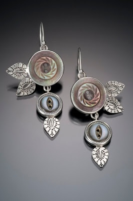 Sprouting Button Earrings; silver and antique shell buttons