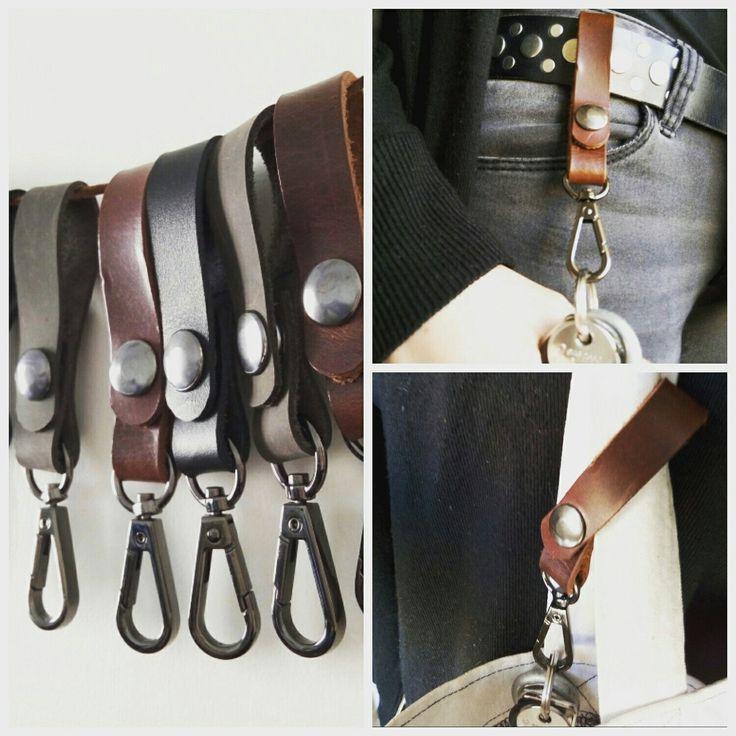 Handmade unisex leather keychain