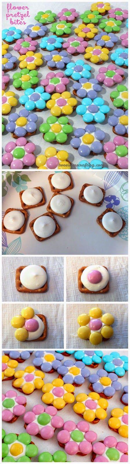 FLOWER PRETZEL BITES    Ingredients:   Pretzel Snaps  Wilton Bright White Candy Melts  Easter Milk Chocolate M&M's    See full instructio...