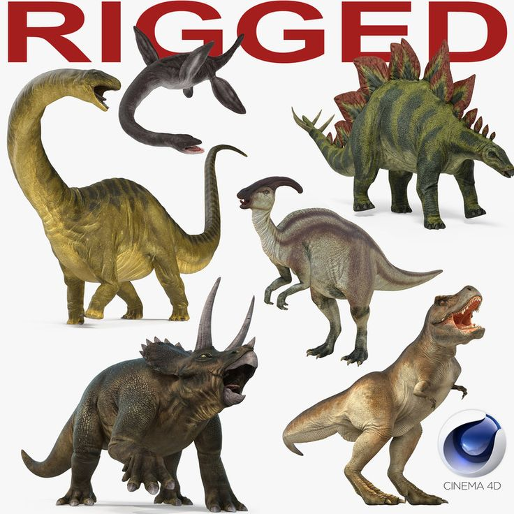 3D Rigged Dinosaurs Collection for Cinema 4D