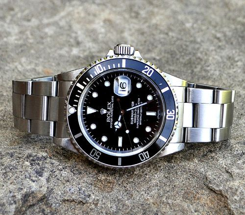 SOLD. Rolex 16610 Black Submariner Watch, Steel Oyster Bracelet, U Serial 1997 #Rolex #LuxurySportStyles